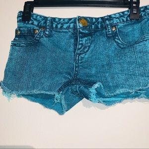 Free people cut off turquoise shorts 25